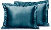 Elegance Skin Care Kapselsloop - Satijnen Kussensloop - Midnight Blue - Kussenslopen 60x70 Set van 2 - Oxford Rand - Beauty kapsel sloop