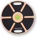Sportstech Premium Balance board van hout + geintegr. waterpas | Fitnessapparaat voor thuis | Balanstrainer & wiebelplank voor training hele lichaam | Plank board + power-ropes | BB100