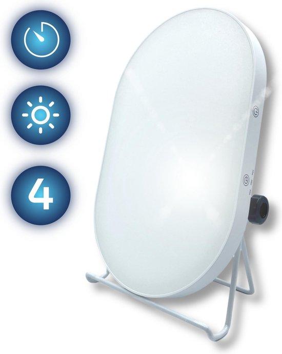 Daglichtlamp Lichttherapie - Daylight Lamp - Bureaulamp - Timerfunctie - 4 Lichtsterktes - 24,2x15,2 cm - 10.000 LUX - Ovaal Design