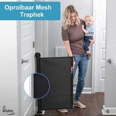 ADSafety - Oprolbaar Traphekje - Zwart - Veiligheid in huis - Luxe Mesh - Veiligheidshekje voor Baby - Kinderhekje - Hondenhek