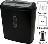 ProOffice - Papierversnipperaar - Papiervernietiger - 5 A4 per keer - 15 Liter opvangbak - Papiervernietiger voor thuis - Papierversnipperaar voor thuis - Papierversnipperaar Papier - Papiershredder - Papiervernietiger