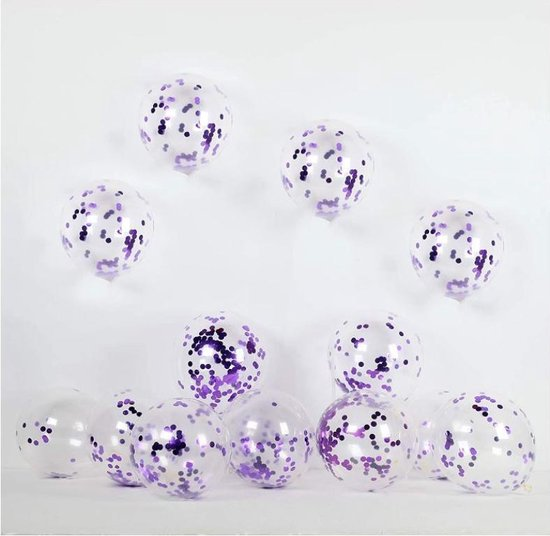 20 Confetti Ballonnen - Paars - papieren Confetti - 40 cm - Latex - Huwelijk - Verjaardag - Feest/Party -