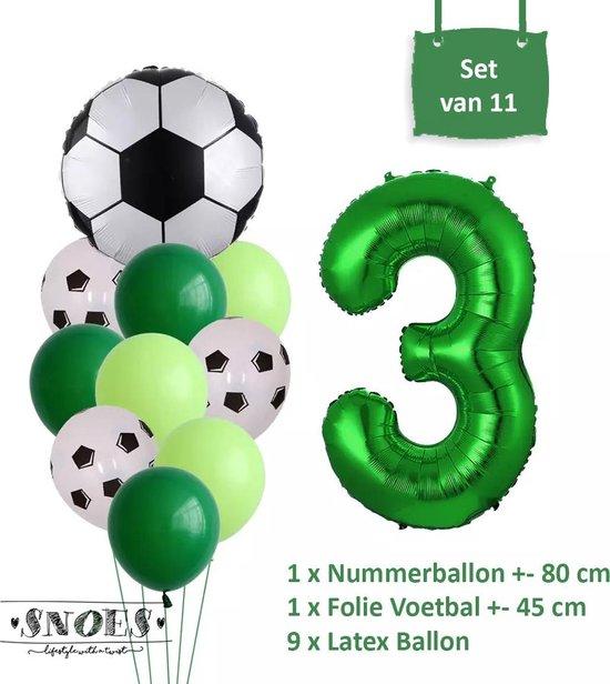 Voetbal Verjaardag * Ballonnen Set 3 Jaar * Hoera 3 Jaar * Jarig Voetbal * Voetbal Fan * Snoes * 80 CM * Voetbal Versiering * Birthday