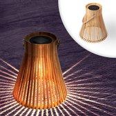 Happy Goods - Bamboe hanglamp 600MAH Solar tuinverlichting op zonne-energie LED sfeerverlichting op sensor - hanglamp voor binnen of buiten