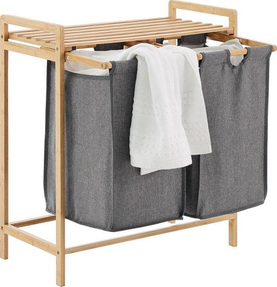 ACAZA Wassorteerder met 2 Uitschuifbare zakken - Stof / Bamboe - Grijs