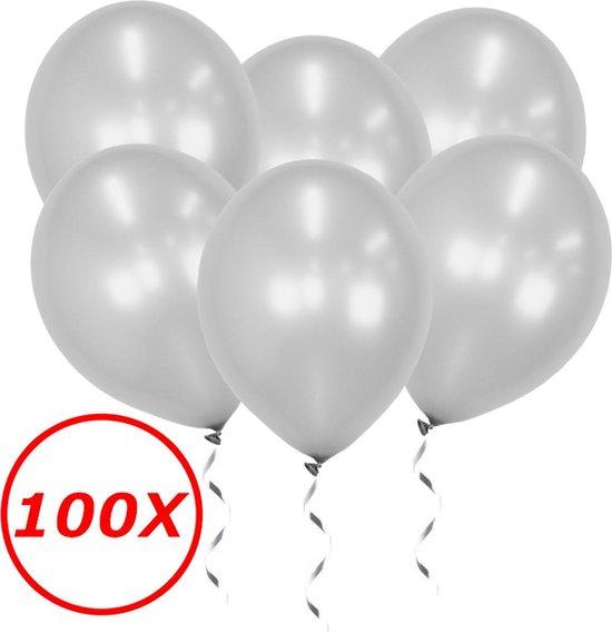 Zilveren Ballonnen Feestversiering Verjaardag 100st Metallic Zilver Ballon