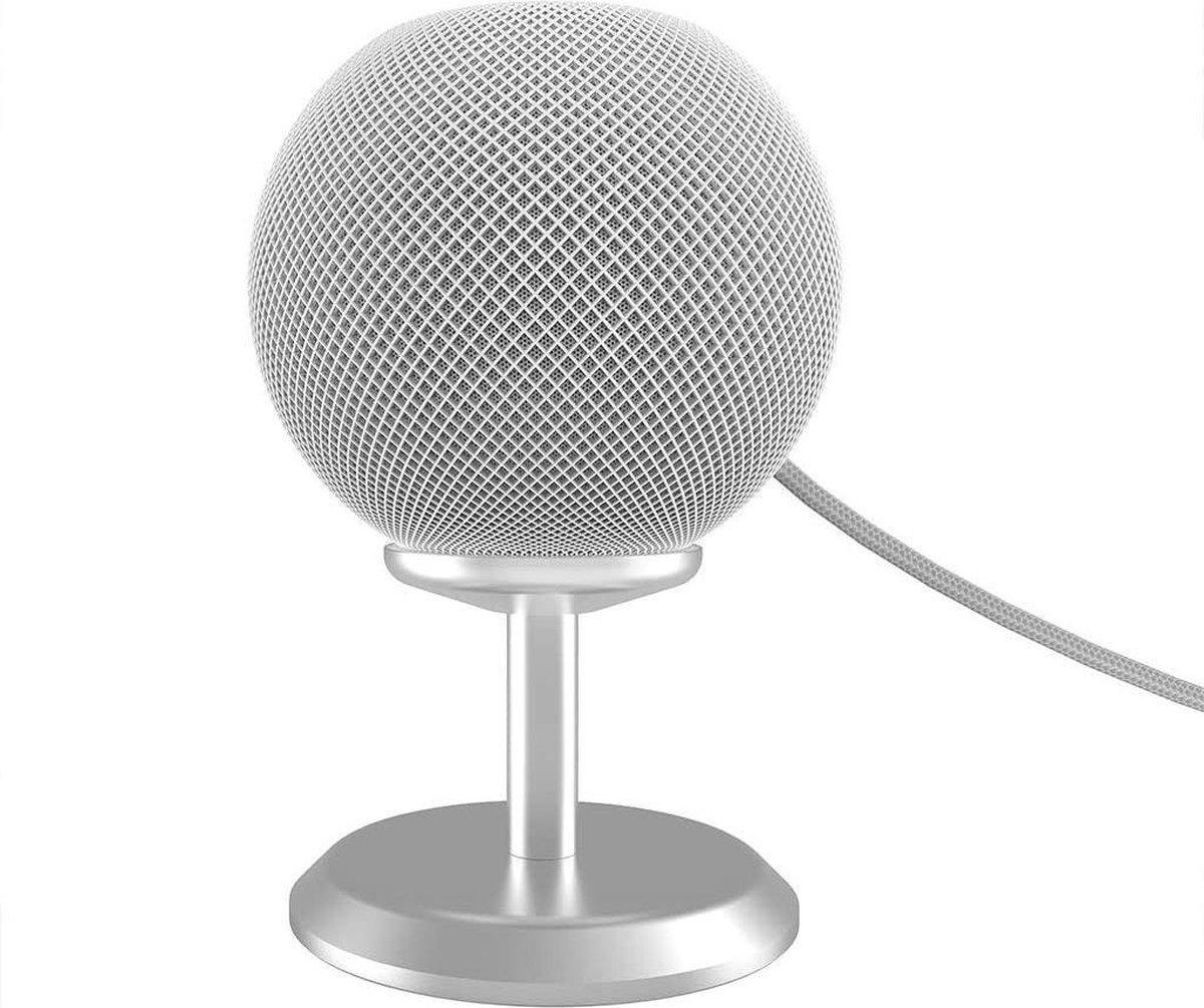 Luxe Aluminium Dock Charger Standaard Houder Voor Apple Homepod Mini Smart Speaker - Docking Station Oplaadstation Desk Mount - Tafel Stand Steun - Display Oplaad Stand - Laadstation - Tafel/Bureau/Nachtkastje- Antislip - Zilver