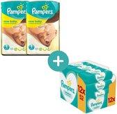 Pampers New Baby Luiers Maat 1- 112 Luiers + Pampers Sensitive Billendoekje 624 Stuks