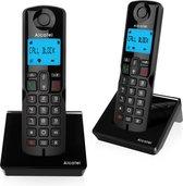 Alcatel S250S Duo draadloze Dect huistelefoon voor vaste lijn | Verlicht display | 3 directe geheugen toetsen | Telefoonboek voor 50 namen en nummers | Handsfree bellen | Oproep blokkeerfunctie |  Zwart
