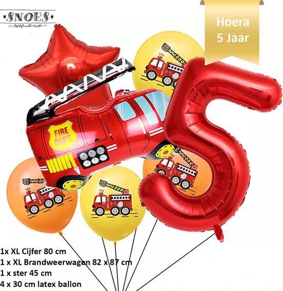 Verjaardag Jongen Brandweerwagen Ballonnen Set * Cijfer 5 * Nummer 5 * Hoera 5 jaar * Snoes * Verjaardag * Kinderfeest * Versiering brandweer rood brandweerwagen * Verjaardag jongen * Thema Brandweer Firefighter Firetruck * Snoes * Vijfde Verjaardag