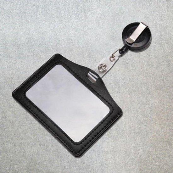 Badgehouder met trekkoord 60 cm - clip - afrolmechanisme - PU leder horizontaal zwart - keycard
