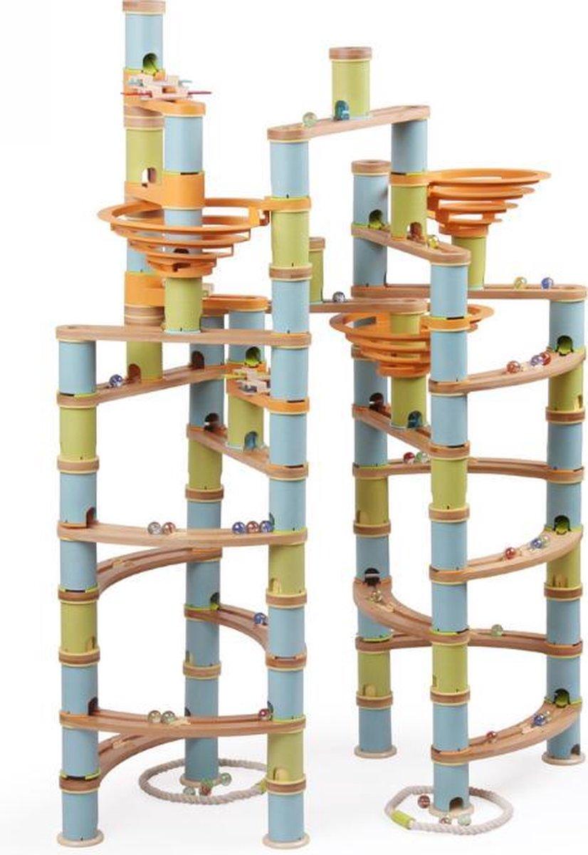 LOEF - educatieve muzikale knikkerbaan - duurzaam speelgoed - bamboe - MEGA kit - marble mania