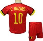 Eden Hazard | België Thuis Tenue | Voetbalshirt + Broek Set | 2021-2022 EK/WK Belgisch voetbaltenue - Maat S (164) - Rood