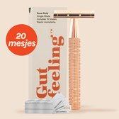 5. Safety Razor +20 gratis scheermesjes - Rose gold Double Edge- Single Blade Scheermes Voor Vrouwen - Dubbelzijdig Scheermes Voor Venus - Oksels - Benen