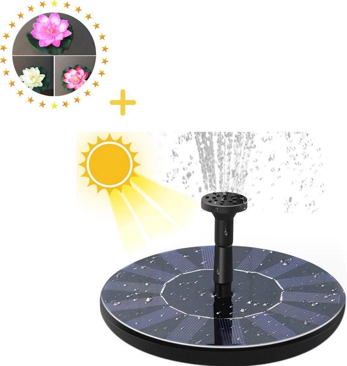 Solar fontein - Zonne energie - 13 cm Inclusief 5 opzetstukken en 3 waterbloemen -Fontein Pomp voor Vogelbad Vogeldrinkschaal Vijver Tuin Zwembad Waterschaal