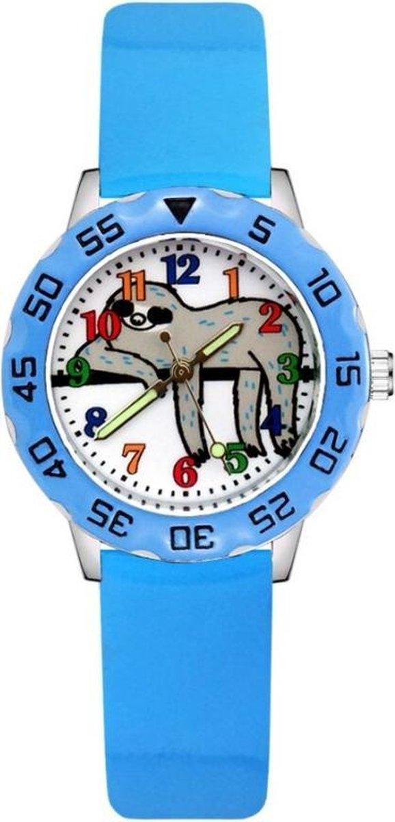 Luiaard horloge met glow in the dark wijzers deluxe