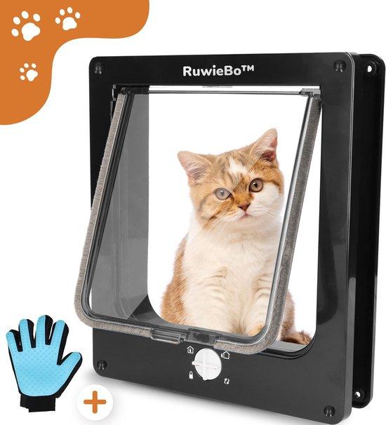 RuwieBo® – Kattenluik- Zwart – Kattenluikje met Gratis- Borstel kat- 4 Vergrendelingsstanden – Weerbestendig - Maat L