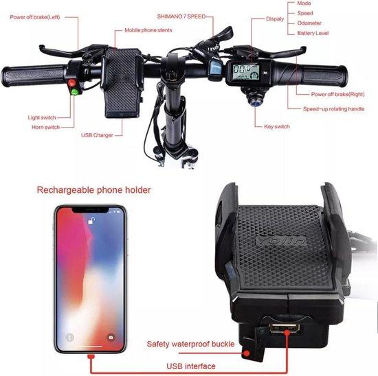 Samebike Elektrische vouwfiets - beste kwaliteit - Shimano 7 speed derailleur - 48V/10 Ah lithium batterij - volledig aluminium -sportief/modern - 35 km/u - mat antraciet