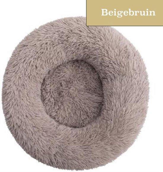 Fluffies - Donut Hondenmand S - Beige/Bruin - 60 CM - Zacht en Fluffy - Wasbaar en Antislip