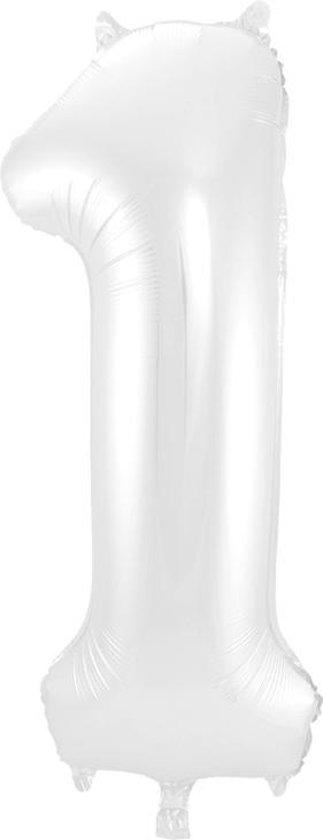 Cijfer 1 Wit Metallic Mat – 86 cm