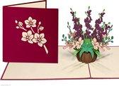 Popcards popupkaarten – Verjaardagskaart Bloemen Gemengd Boeket Orchideeën Vriendschap Felicitatie Beterschap Troost pop-up kaart 3D wenskaart