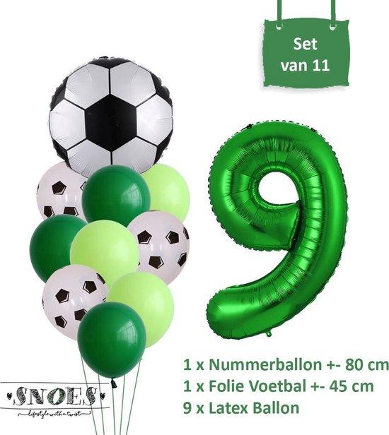 Voetbal Verjaardag * Ballonnen Set 9 Jaar * Hoera 9 Jaar * Jarig Voetbal * Voetbal Fan * Snoes * 80 CM * Voetbal Versiering * Birthday
