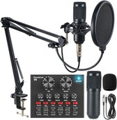 Professional Studio Audio Interface Recording  | Mixer voor Live Streaming Met Stemvervormer |Studio Microfoon | Live bm-800 Karaoke mic V8 Sound Card For Condenser Microphone | Podcast/Vlogging/Interview/Video/Youtube - iPhone/Android/Tablet/DSLR