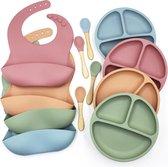Siliconen Kinderserviesset ( Blauw ) Eetset - Kinder Servies - Baby Servies - Antislip -  BPA vrij - Onbreekbaar - Slabbetje + Bordje + Bestek - Giftset - Kraamcadeau - Babyshower - Siliconen