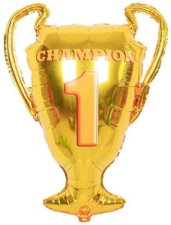 Beker Ballon - XL - 88x66cm - Overwinning - Nummer 1 - Champion - Ballonnen - Kampioen - Wereldkampioen - Beste - Thema feest - Verrassing - Helium ballon - Winner - Folie ballon - Leeg - Versiering - Geslaagd