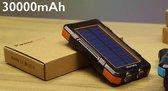 Solar powerbank 30000 mAh met snellaadfunctie en zonnepaneel inclusief computerbril / *KRACHTIGSTE* powerbank / powerbank zonne energie / dubbele usb aansluiting / zaklampfunctie / waterdicht / kompas / LED-verlichting / zonnepaneel / Samsung, iPhone