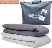 Verzwaringsdeken Set Katoen 6 KG Weighted Blanket Beter Slapen – Wasbare Hoes Katoen – 200 x 140 – Donkergrijs