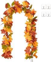 Herfst Decoratie | Herfstslinger | Herfstbladeren | 2 Stuks | Halloween | Feestdecoratie | Sfeerslinger | 1.7 Meter | Oranje, Rood, Groen