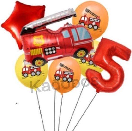 Brandweer folie ballonnen set verjaardag 5 jaar - Brandweer ballon 7 delig