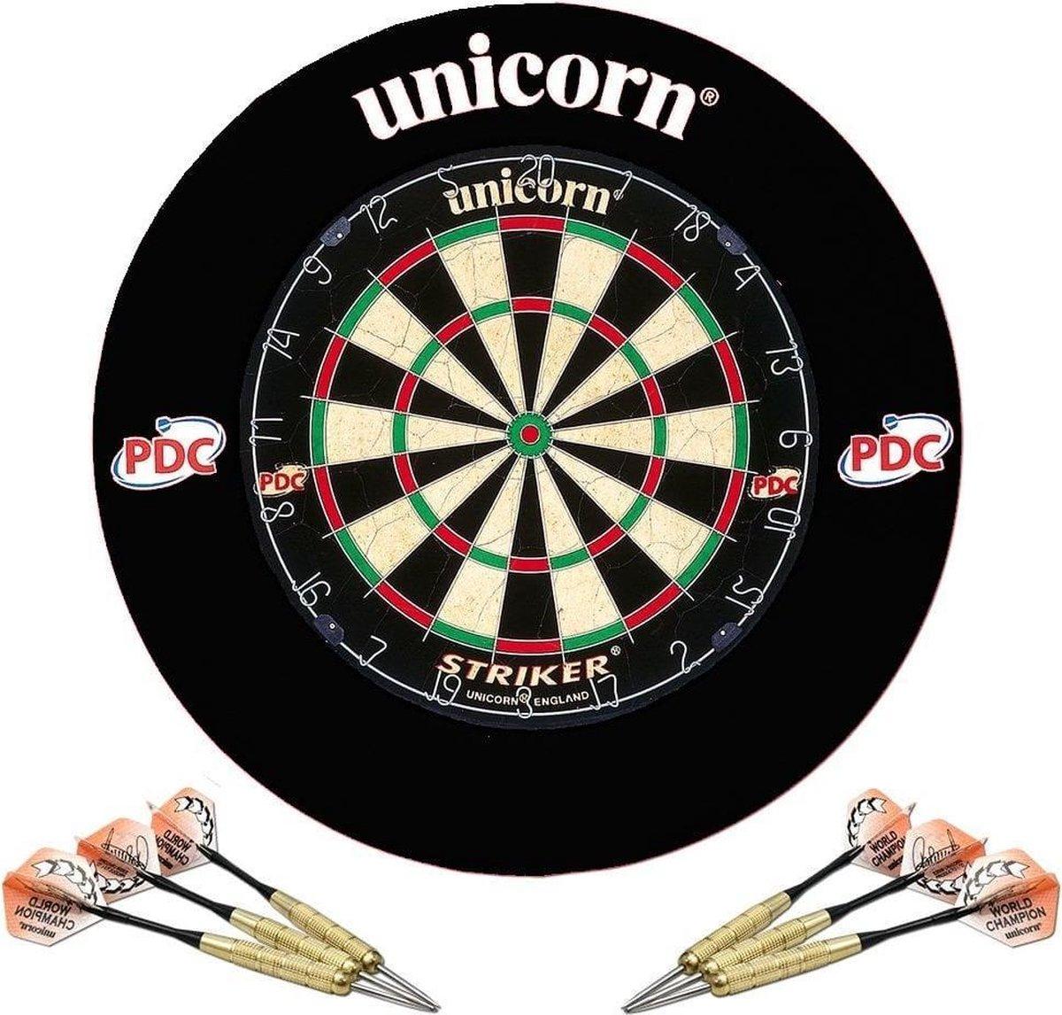 Unicorn - Striker Home Dartset - Dartbord met Beschermring en 2 sets Dartpijlen - Zwart