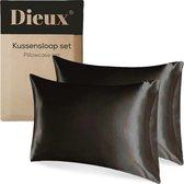 Dieux® - Luxe Satijnen Kussensloop - Zwart - Kussenslopen 60 x 70 cm - set van 2 - Kussensloop Satijn - Beauty Pillow - Anti allergeen - Huidverzorging - Haarverzorging