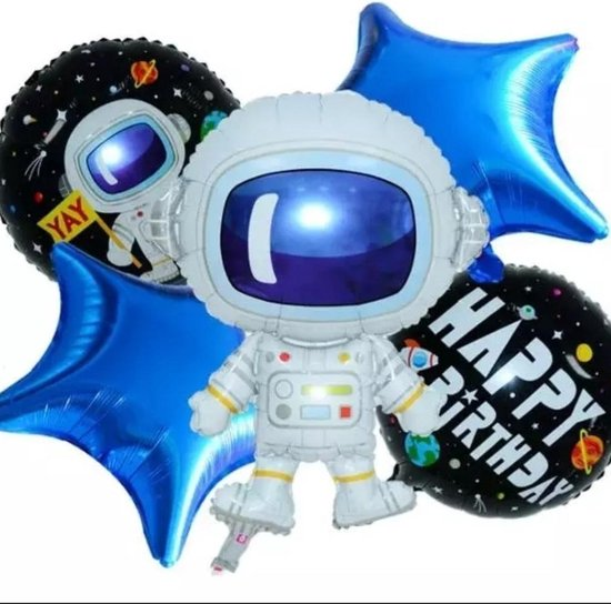 Astronaut-Spacemen-Set(5Stuks)blue-Sterren-Folie-Ballon