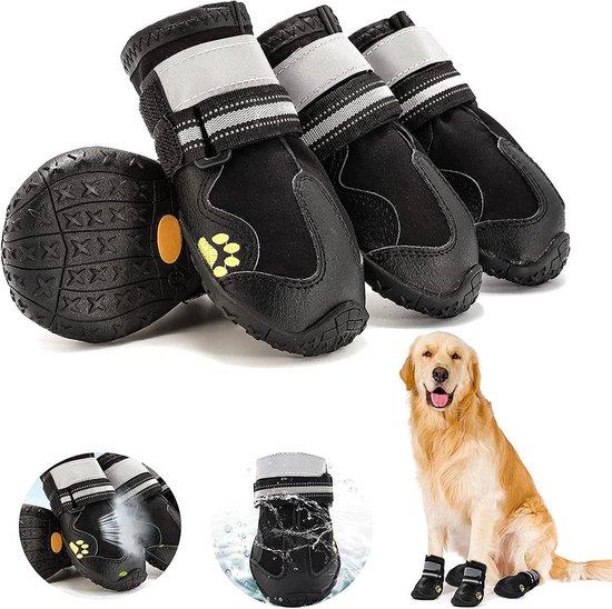 Hondenschoenen - Pootbescherming - Antislip hondenschoenen met reflecterende banden - Maat #2/XS - 4 stuks