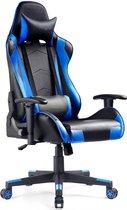 VEEHAUS - PASCO - Gaming Stoel - Bureaustoel met Voetensteun - Bureaustoel - Ergonomisch Design - Verstelbare Hoofdsteun - Lendensteun - Belastbaar tot 150 kg - Zwart/Blauw