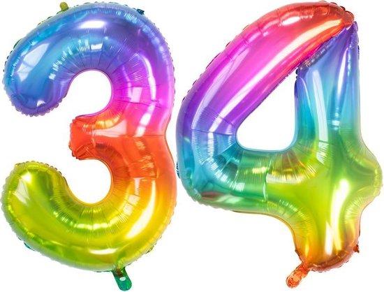Cijfer 34 Yummy Gummy Rainbow – 86 cm
