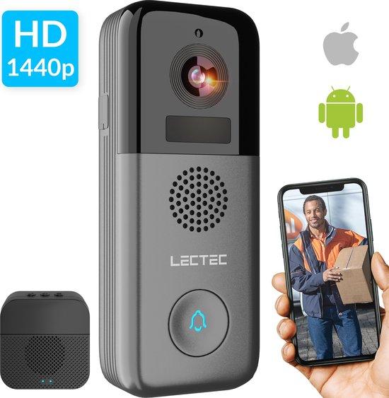 LECTEC Slimme Draadloze Wifi Deurbel met Camera - Smart Intercom - 2K ultra HD - Gratis 32g SD-kaart - Besturing via app - 3 Megapixel - Werkt met Google Home & Alexa