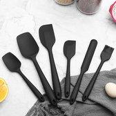 VITAMO Siliconen Spatels - Lepels - Kwast - Pannenlikker - BBQ - Hittebestendig - Vaatwasserbestendig - BPA vrij - Keukengerei - Zwart - 6 Stuks Voordeelset