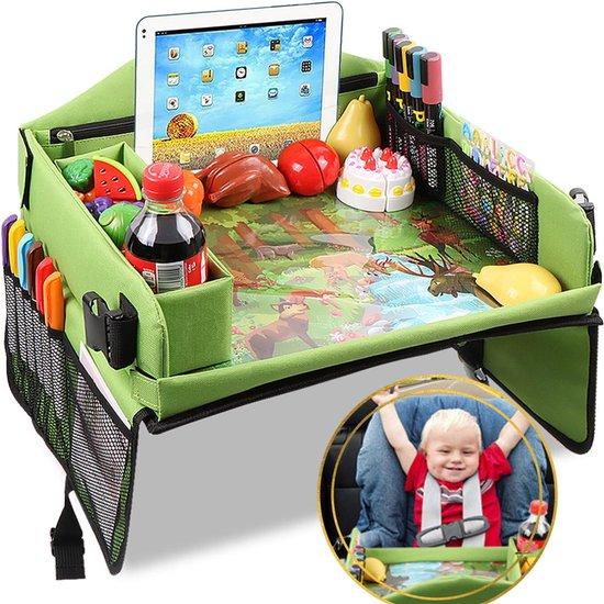 Afbeelding van Auto en Vliegtuig Reistafel voor Kinderen - Autotafel - Eettafel - Speeltafel met Tekentafel & iPad Tablethouder voor Lange en Verre reizen - Opvouwbaar - Whiteboard - Schoolvakanties  - Groen