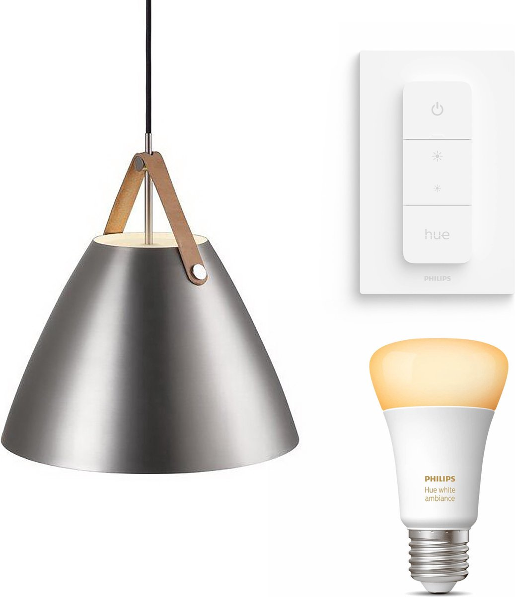 Nordlux Strap 36 hanglamp - LED - mat chroom - 1 lichtpunt - Incl. Philips Hue White Ambiance E27 & dimmer