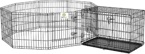 Topmast Puppyren opvouwbaar XL zwart gecoat metaal. 60 cm hoog - 560 cm omtrek