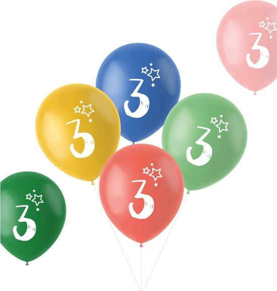 Ballonnen Retro 3 Jaar Meerkleurig 33 cm - 6 stuks