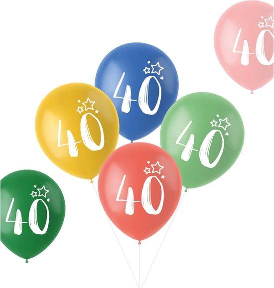 Ballonnen Retro 40 Jaar Meerkleurig 33 cm - 6 stuks