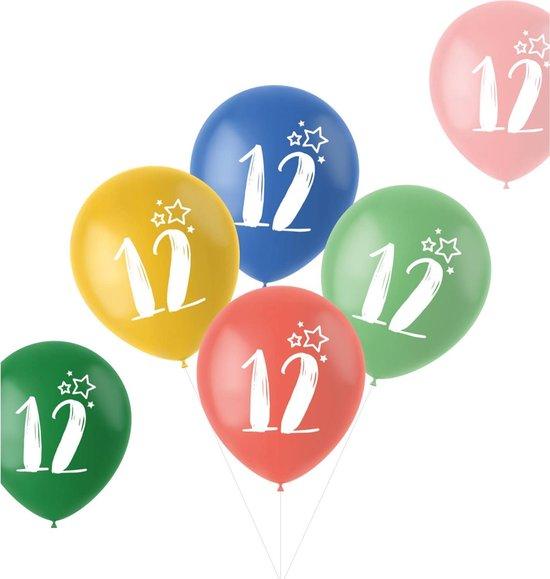 Ballonnen Retro 12 Jaar Meerkleurig 33 cm - 6 stuks