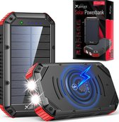 Xamax Solar Powerbank 30000 mAh – Qi Draadloze Oplader - Zonne energie - Snellader voor iPhone & Samsung – Externe Batterij USB C, USB A & Micro USB