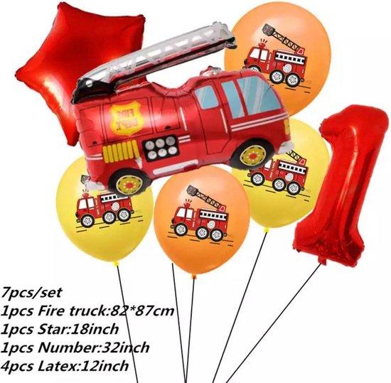 Brandweerwagen  Folie Ballon nummer 1  ballonen set 7 delig brandweerwagen