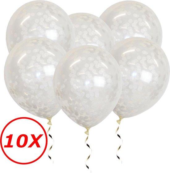 Witte Confetti Ballonnen Verjaardag Versiering Helium Ballonnen Feest Versiering Wit Papieren Confetti Decoratie - 10 St